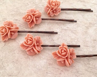 Peach Bobby Pin Set Of 5 Vintage Girl Bobby Pin Flower Bobby Pins Gift For Girl Vintage Bridesmaid Flower Hair Accessories Bobby Pin Set