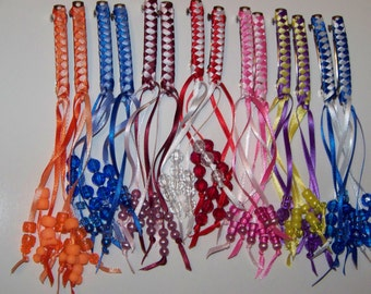 Ribbon Barrettes with Beads (pair of 2)  Choice of Colors