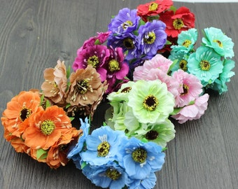 10 bunches Poppies flower Artificial Silk Poppy Bouquet Wedding Bouquets DIY SF003