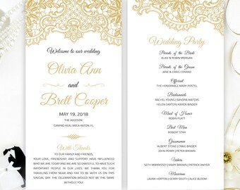PRINTED Wedding Programs Gray Lace For