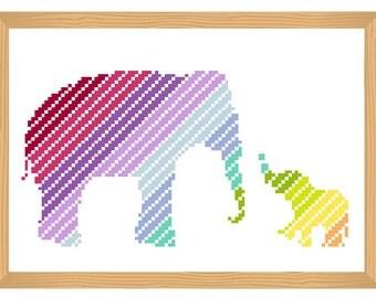 elephant cross stitch pattern, silhouette cross stitch, elephant pattern, abstract, rainbow, india, baby, africa, safari