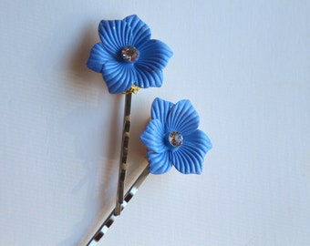 Blue flower hair pins