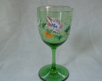 Antique Czech Bohemian Baroque Hand Blown Hand Decorated Wine Glass Mothers Day Wedding  Anniversary Birthday Collector Gift
