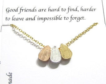 Best Friend Necklace, Friendship Necklace | Gold A5 triple teardrop |  Best Friend Gift, gift for friend, Best Friend Friendship Jewelry