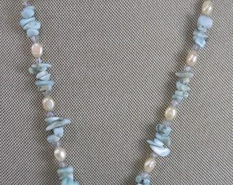 Larimar, Fresh Water Pearl, Mystic Quartz Gemstone Necklace with lotus flower pendant