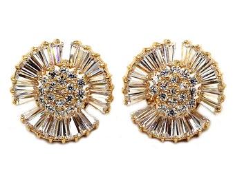 Shiny circle crystal earrings