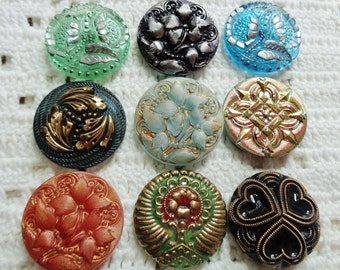 SALE 9 Czech art glass buttons in lacy, lustered and painted finishes 27mm FREE SHIPPING