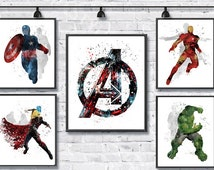 Avengers Watercolor Poster Superhero Watercolor Art Print Iron Man Captain America Hulk Thor Marvel Movie Kids Room Decor Wall Hanging