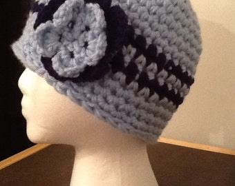 Crochet Beanie with double flower.
