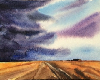 Storm painting, Wheat Field, storm in field, stormy watercolor, watercolor landscape, Storm art, storm clouds, mid west, Sky painting