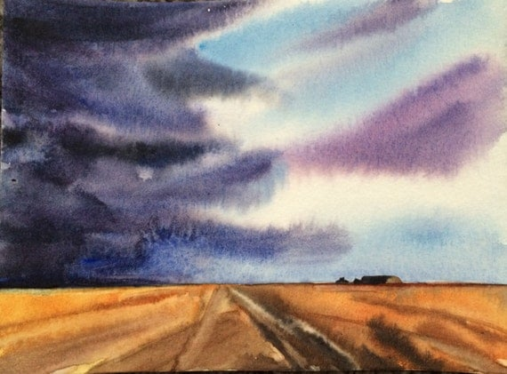 Storm painting, Wheat Field, storm clouds, mid west, Sky painting