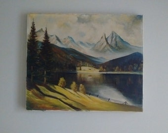 Mid-Century Landscape Painting  from Germany, Oil on Canvas Landscape Painting from Germany