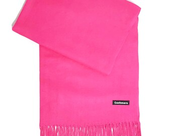 Ladies Super Soft Cashmere Luxury Feel Scarf/Shawl For Day To Evening Occasions (Cerise)