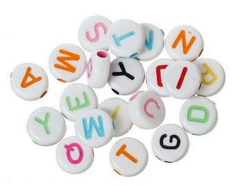 1000PCs Multi-color Round Acrylic Beads Carved Letters/Alphabets 7 x7mm