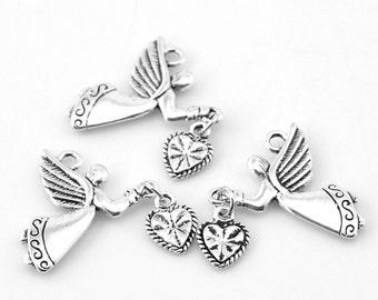 "Gift Wholesale Silver Tone Angel Love Heart Charm Pendants 25x22mm(1""x7/8"")"