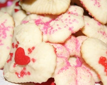 Italian Butter Cookies, SPRITZ COOKIES,homemade cookies, VALENTINE'S Day cookies, Heart shaped cookies,edible gift, almond and buttery