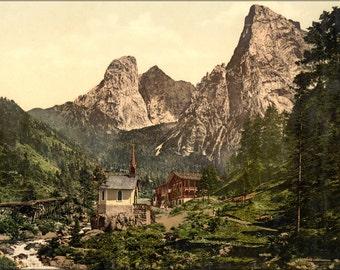 24x36 Poster . Hinterbarenbad, Upper Bavaria, Germany 1890 Photochrom