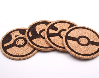 Pokemon Poke Ball Laser Etched Cork Coasters Set of 4