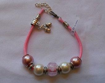 Beaded bracelet, European Style, Pink, 20cm, Micro-paracord