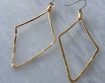 Hammered Brass Wire Diamond Earrings