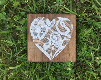 "Shabby Chic Lace Covered Heart (5.5"" x 5.5"")"