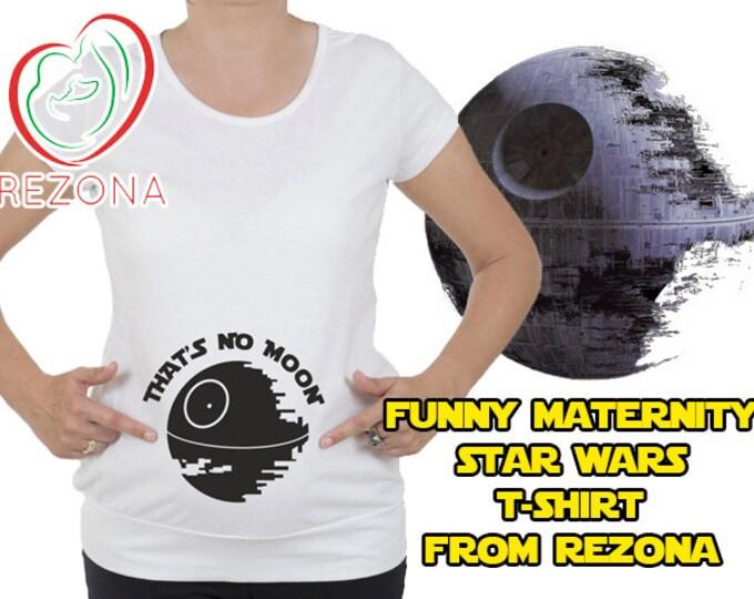 That's no moon, Funny Star Wars Maternity, Pregnancy tshirt. Han Solo, Luke Skywalker, Return of the Jedi, Yoda, Darth Vader