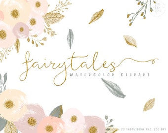 Watercolor Flowers Gold Glitter Clipart, Fairytales, 23 Individual PNG Digital Design Elements, High Resolution, Floral Clipart, Bouquets