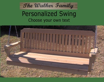New Personalized 5 Foot Cedar Wood Traditional Porch Swing - Choice of Name/Phrase Woodburned On Swing - Hanging Rope - Free Shipping