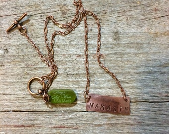 Namaste copper necklace - light weight, copper, yogie gift, birthday gift, yoga jewelry, yoga necklace, handmade
