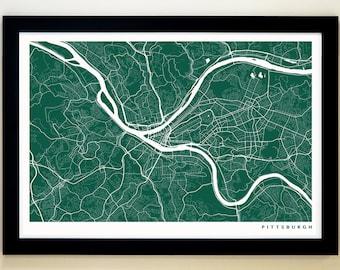 PITTSBURGH Map Art Print, Giclée Print, Pittsburgh Wall Art