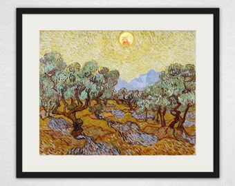 Van Gogh's Olive Trees with Yellow Sky and Screaming Sun - Rick and Morty Wall Art and Canvas Print
