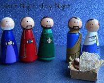 Wooden Hand Painted Nativity Set, Christmas Nativity Set