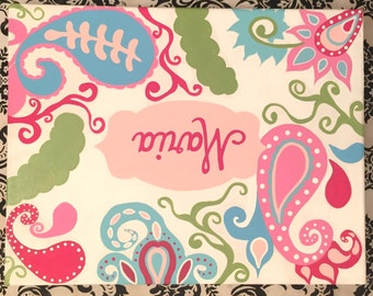 Hand-painted personalized canvas name wall art sign in Turquiose/Pink Paisley