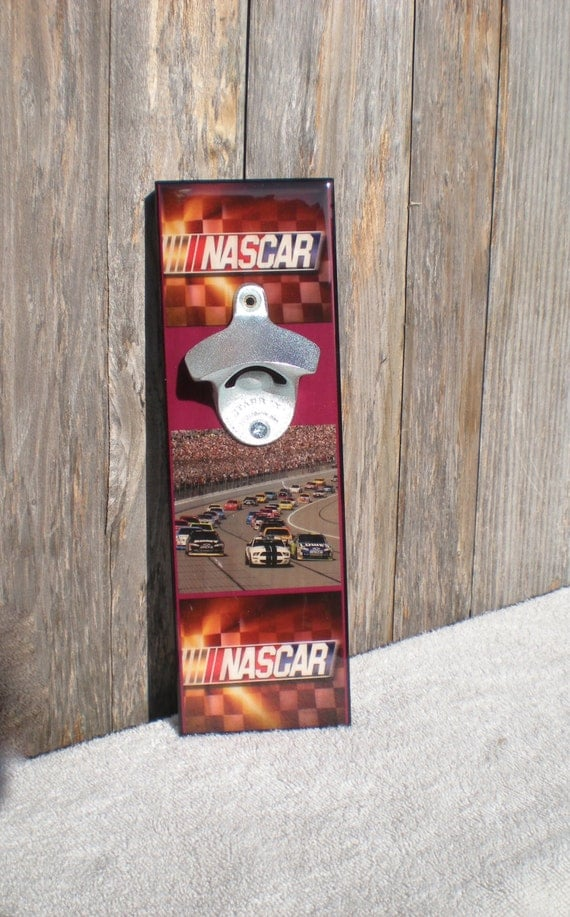 Cool Nascar bottle opener / Wall Mounted / Magnetic Cap