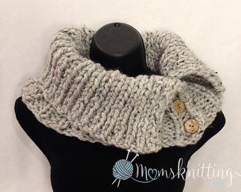 Download Cowl PDF Pattern Knit Cowl Tutorial, Cowl Chunky Button Scarf Hand Knit, Cowl Scarf Pattern Cowl, Knit Button Scarf, Women Scarf