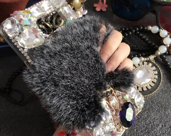 Luxury Fashion Bling Gray Soft Fluffy Fur Furry Sparkles Metal Fox Gems Crystals Rhinestones Diamond Lovely Hard Cover Case for Mobile Phone