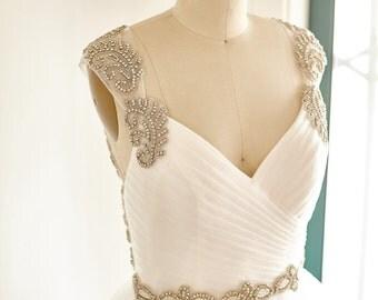 Open Back Backless Keyhole Beaded Ruffle TulleBeach Boho Wedding Dress Bridal Gown