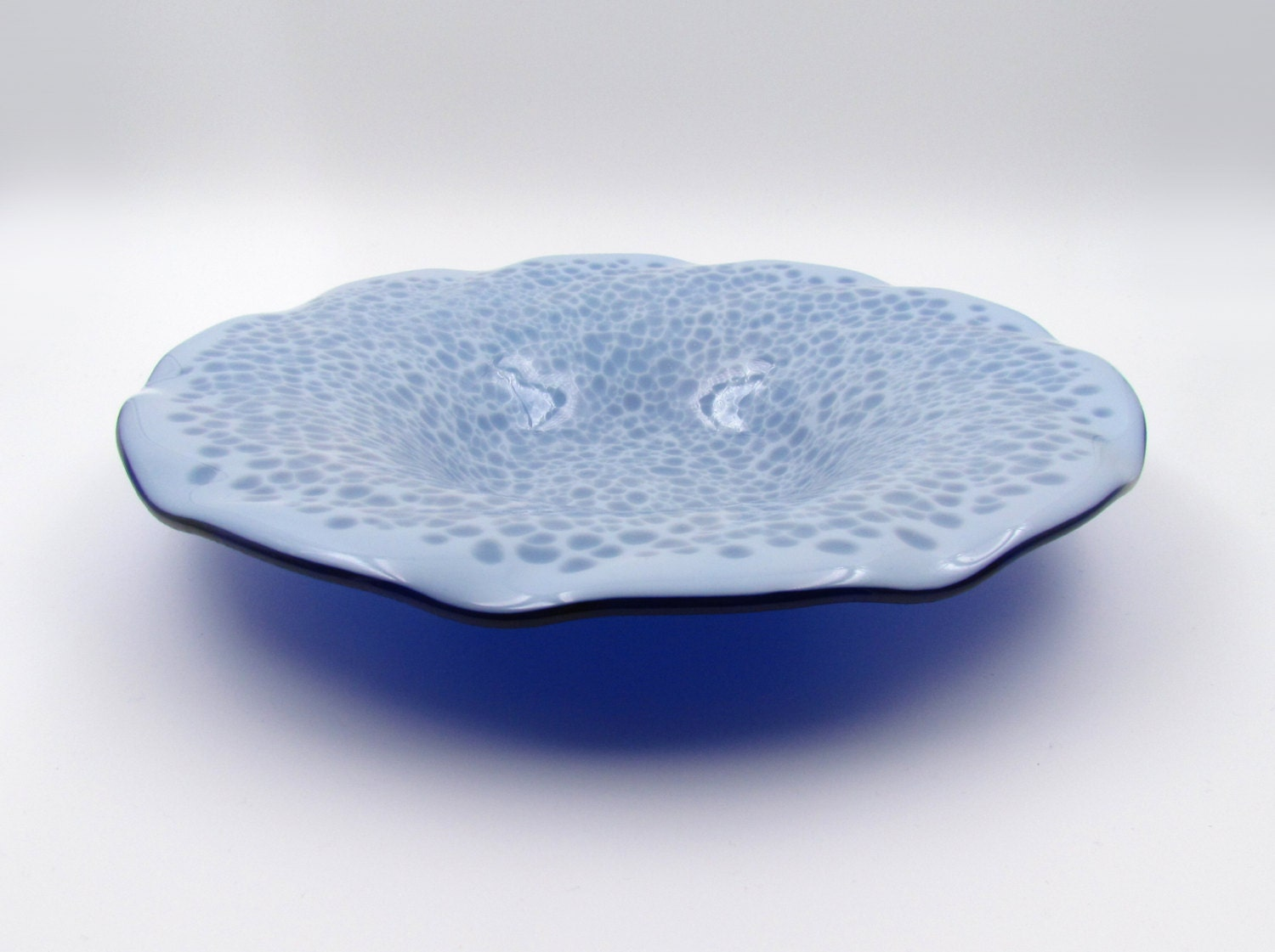 large glass bowl white and blue bowl fused glass bowl large glass platter - Decorative Glass Bowls
