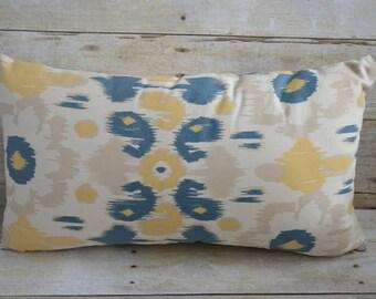 Blue Yellow Beige Modern Floral Lumbar Pillow