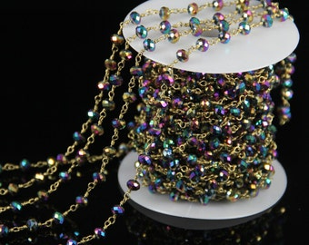 10 feet Rainbow Mystic Titanium Glass Faceted Rondelle Beads Chain,Rosary Plated Gold Wire Wrapped Gems Fashion Making Necklace Chains Bulk
