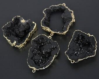 Large Natural Gun Black Druzy Agate Slice Connector Bulk,Plated Gold Bail Link Bracelet Raw Drusy Geode Necklace Fashion Pendants,more piece