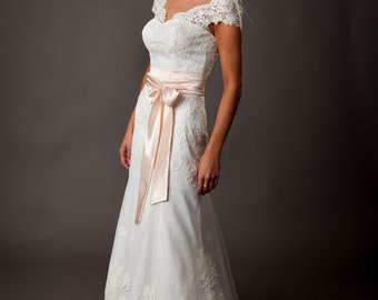 Boho Vintage Inspired A-line Fully Lace Wedding Dress with Atlas Lace Skirt, Lace Corset, Lace Train, Lace Cap Sleeves, Flower Belt