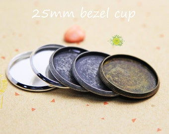 25mm Round Bezel Setting Cups-Bezel Cup for 25mm Cabochon-1 inch Round Bezel Cup Shallow Pad-25mm bezel blank-1mm depth-3 color-Choose Qty