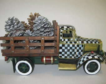 Vintage Style Metal Truck Hand Painted with Country Checks