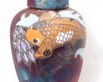 Raku Ginger Jar with Koi Fish (with lid)