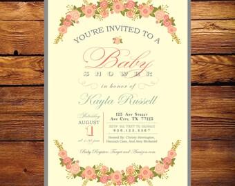 Garden Baby Shower Invitation - Girl