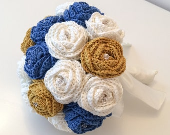 Blue Wedding Bouquet, Fabric Flower Bouquet, Crochet Wedding Flower, Wedding Bouquet Ideas Wedding Bouquet Set Artificial Flower Arrangement