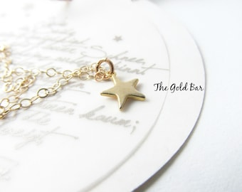 Small Star Necklace, Gold Star Necklace, Dainty, Simple Everyday Delicate, Star Jewelry, Flower Girl Bridesmaid Gift