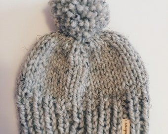 Grey Marble Knitted Hat