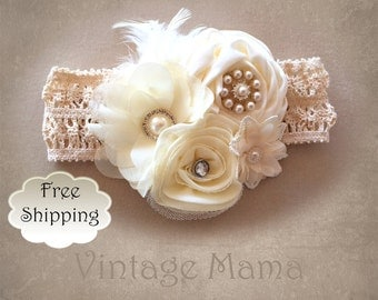 Girls Vintage Headband - Crochet with Flowers, Pearls, & Feathers - Newborn to 5yr